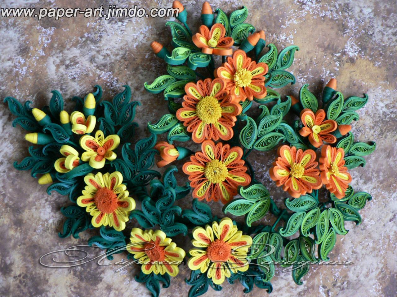 Картины цветов квиллинг фото
