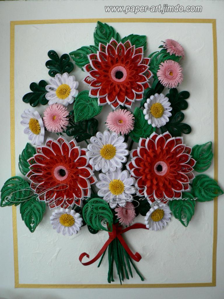 Букет цветов квиллинг своими руками 28