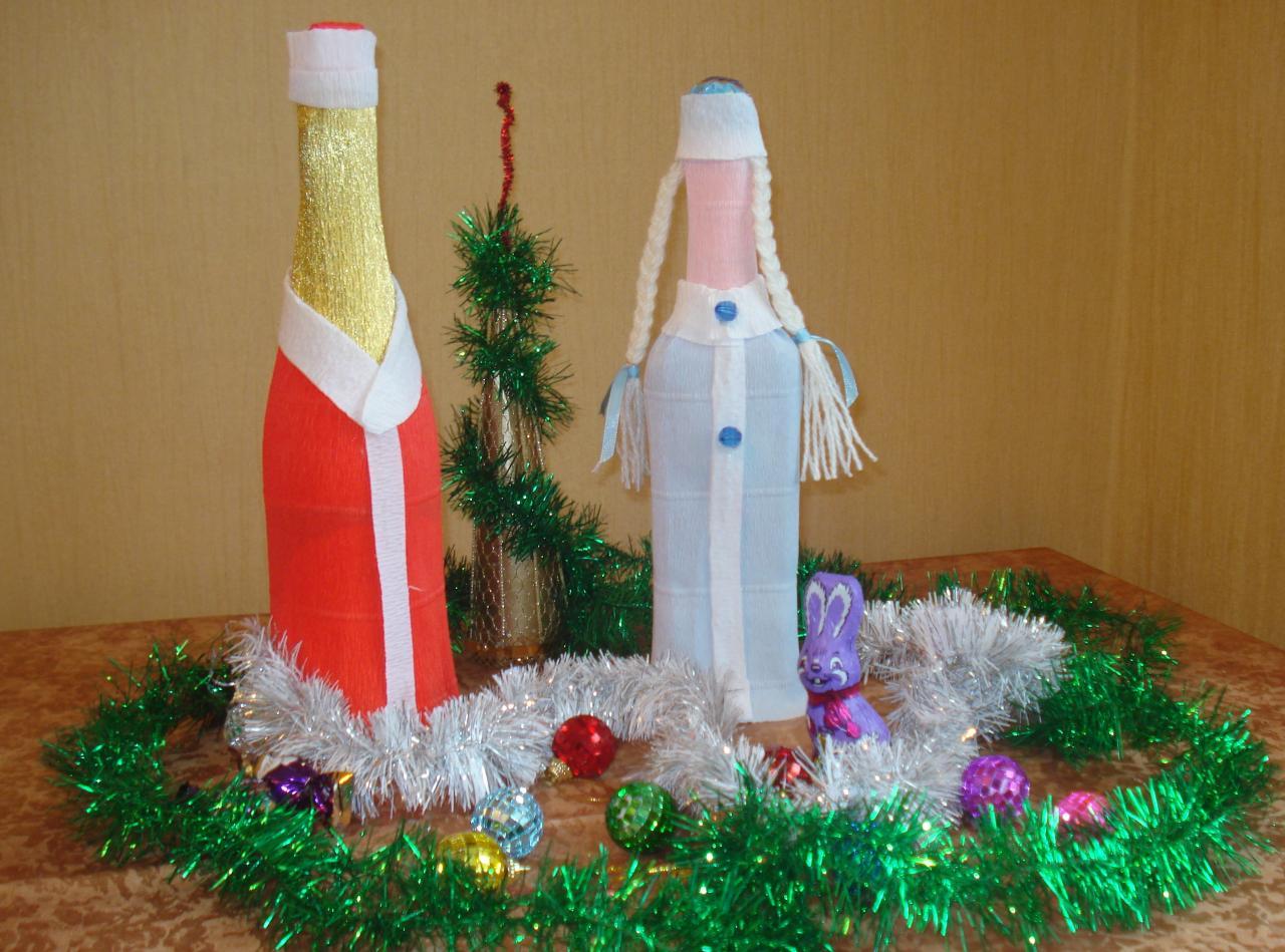 Дед мороз из бутылки шампанского своими руками