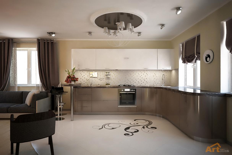 Дизайн коттеджа кухня гостиная